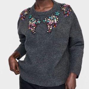 Zara Bejeweled Gray Sweater